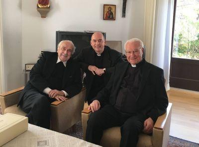 Fränkisch-pfälzische Begegnung in Speyer (von links): Weihbischof em. Helmut Bauer, Bischof Dr. Franz Jung und Bischof em. Dr. Anton Schlembach.
