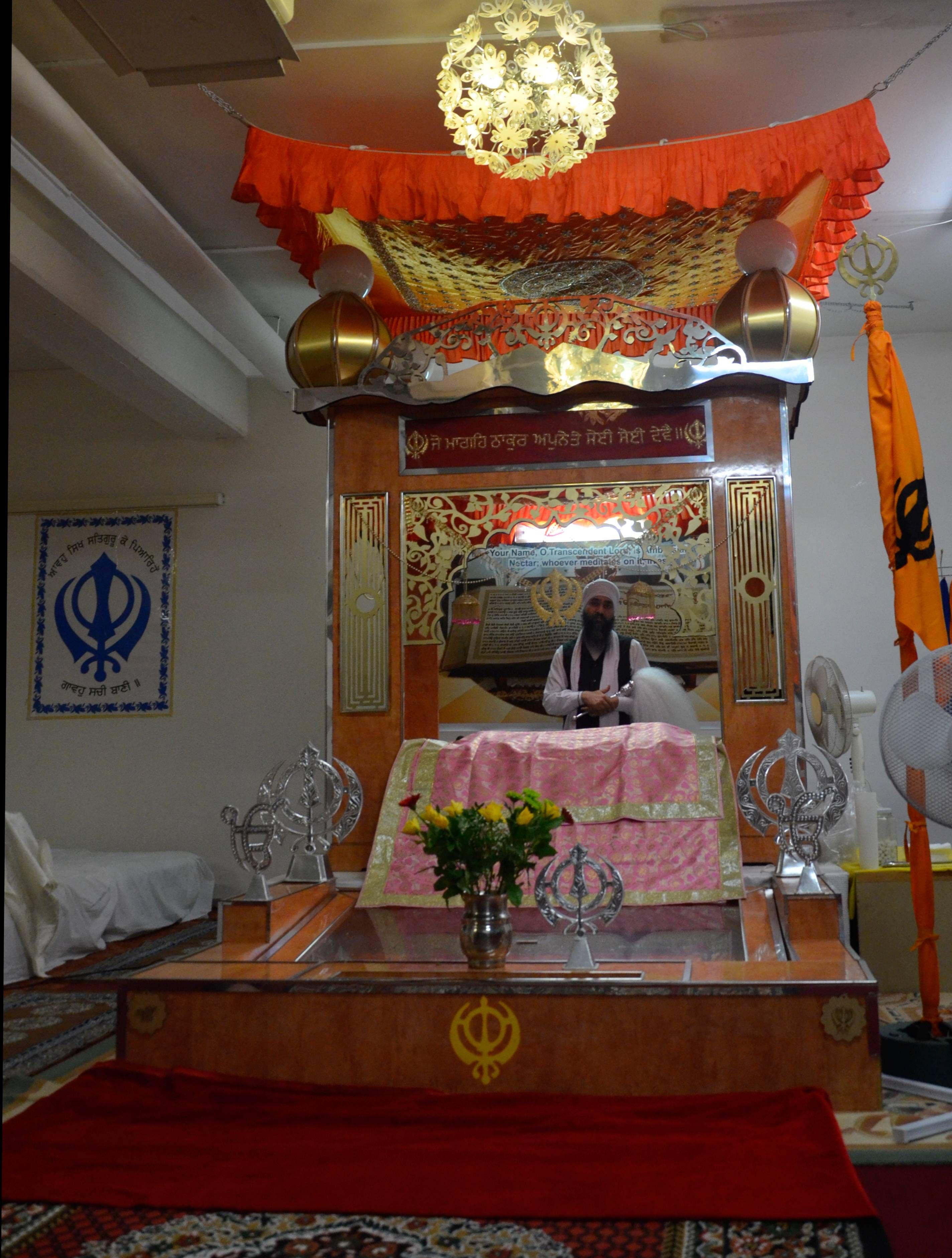 Blick in den Tempel der Sikhs.
