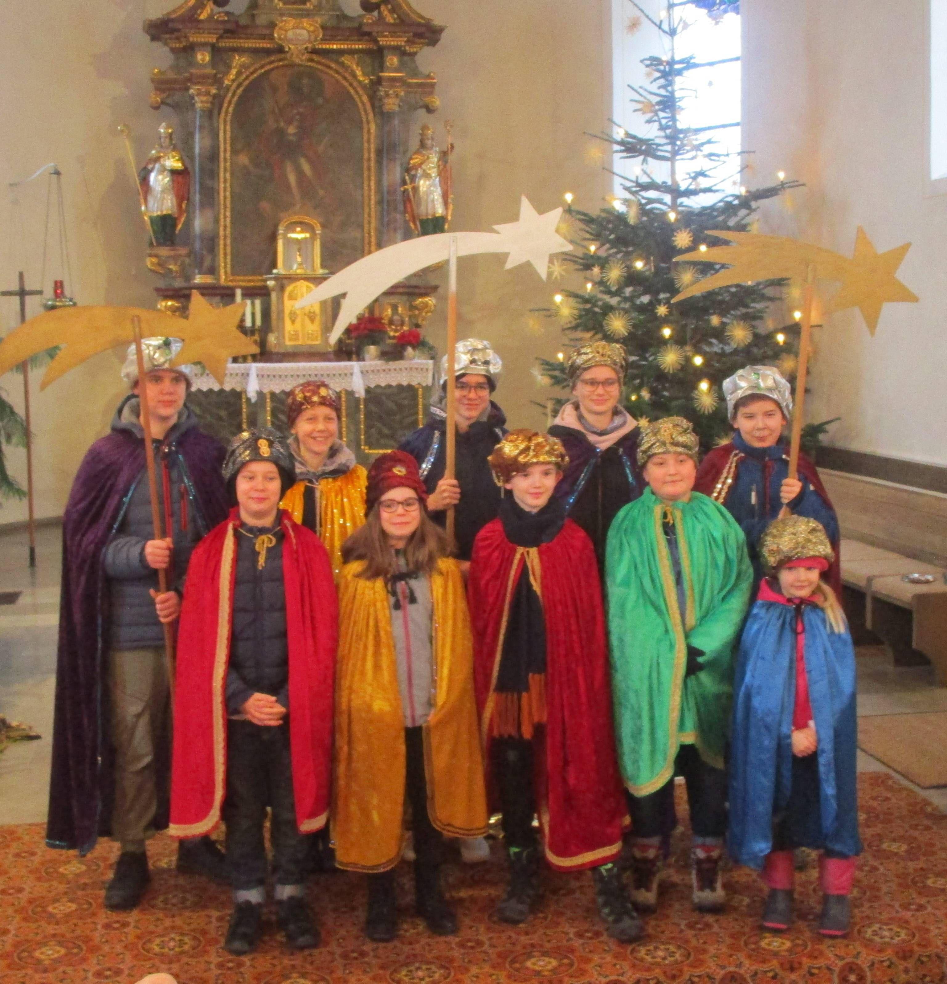 Die Sternsinger der Pfarrei St. Kilian in Blankenbach (Dekanat Alzenau).