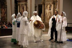 Mitglieder der äthiopisch-orthodoxen Kirche trugen ein Kirchenlied in ihrer Sprache vor.