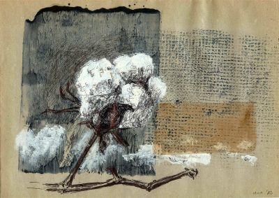"""Unter dem Titel """"Konsumsplitter"""" werden im Weltladen Würzburg Zeichnungen der Künstlerin Martina Hammel ausgestellt. Dieses Kunstwerk zeigt Baumwolle."""