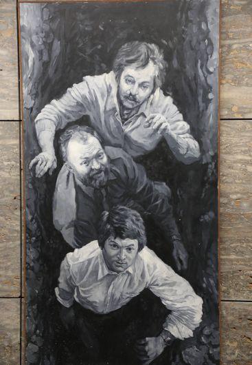 Selbstporträt Höflings mit seinen Freunden Herbert Falken und Wolfgang Becker.