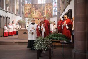 Vergangenes Jahr segnete Weihbischof Ulrich Boom am Palmsonntag in der Marienkapelle Palmzweige  für die Prozession .