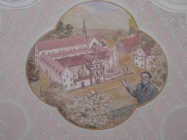 Landrat Georg Denzer wurde als Retter Bronnbachs in barocker Manier in einem Fresko des Abteigebäudes verewigt.