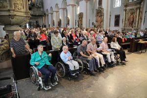 Insgesamt rund 400 kranke und behinderte Menschen aus dem gesamten Bistum wurden für den Gottesdienst von den Maltesern nach Würzburg gebracht, darunter 70 auf den Rollstuhl angewiesene Personen.