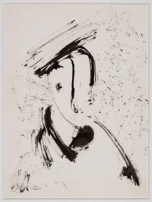 Jehuda Bacon, Pinsel in Tusche auf Papier, ohne Jahr, ohne Titel.