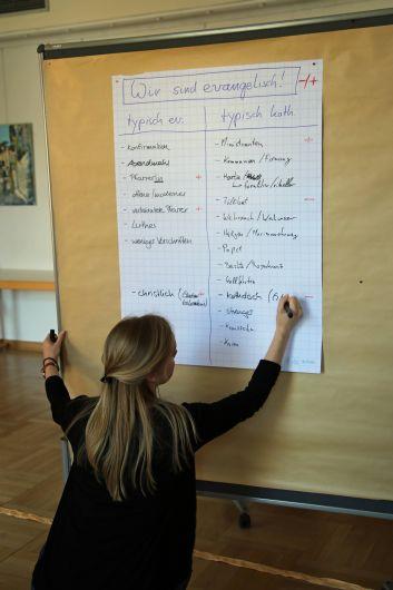 Svenja Barthel ergänzt die Liste der evangelischen Teilnehmer.