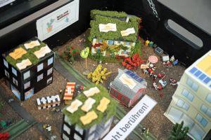 Ein Stadtviertel im Miniaturformat zeigt, wie eine nachhaltige Gemeinde aussehen könnte.