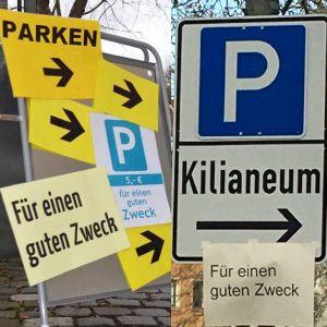 Während der Adventszeit 2019 konnte man auf dem Parkplatz des Kilianeums-Haus der Jugend gegen eine Spende von fünf Euro parken.