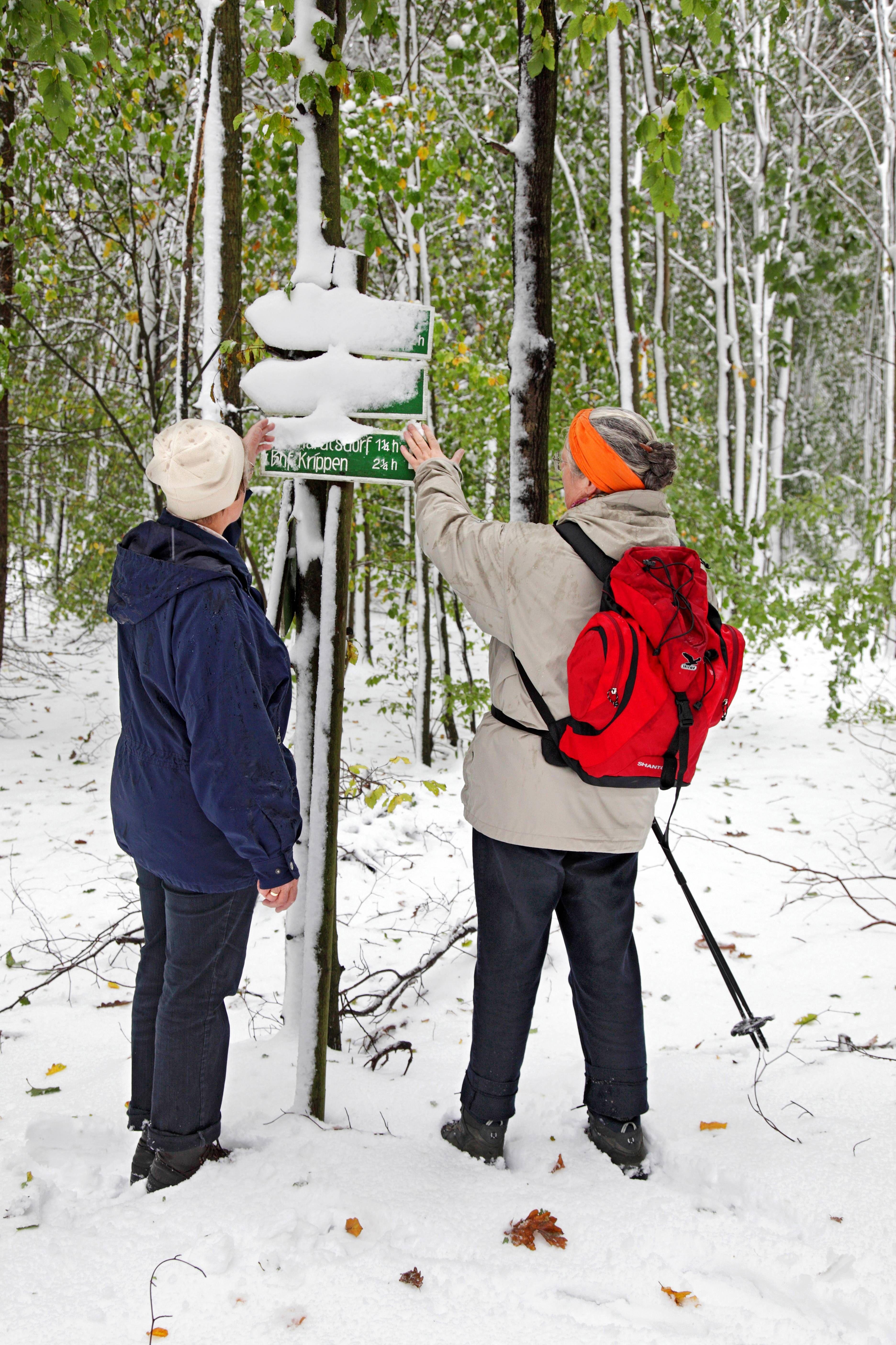 Herbstwanderung im Schnee in der Sächsischen Schweiz am 16.10.2009. Die Wanderer in der Sächsischen Schweiz wurden schon Mitte Oktober vom Schnee überrascht. Auf dem Gipfel des Großen Zschirnstein, mit 562 Metern die höchste Erhebung der Sächsischen Schweiz, herrschten Bedingungen wie im tiefen Winter.
