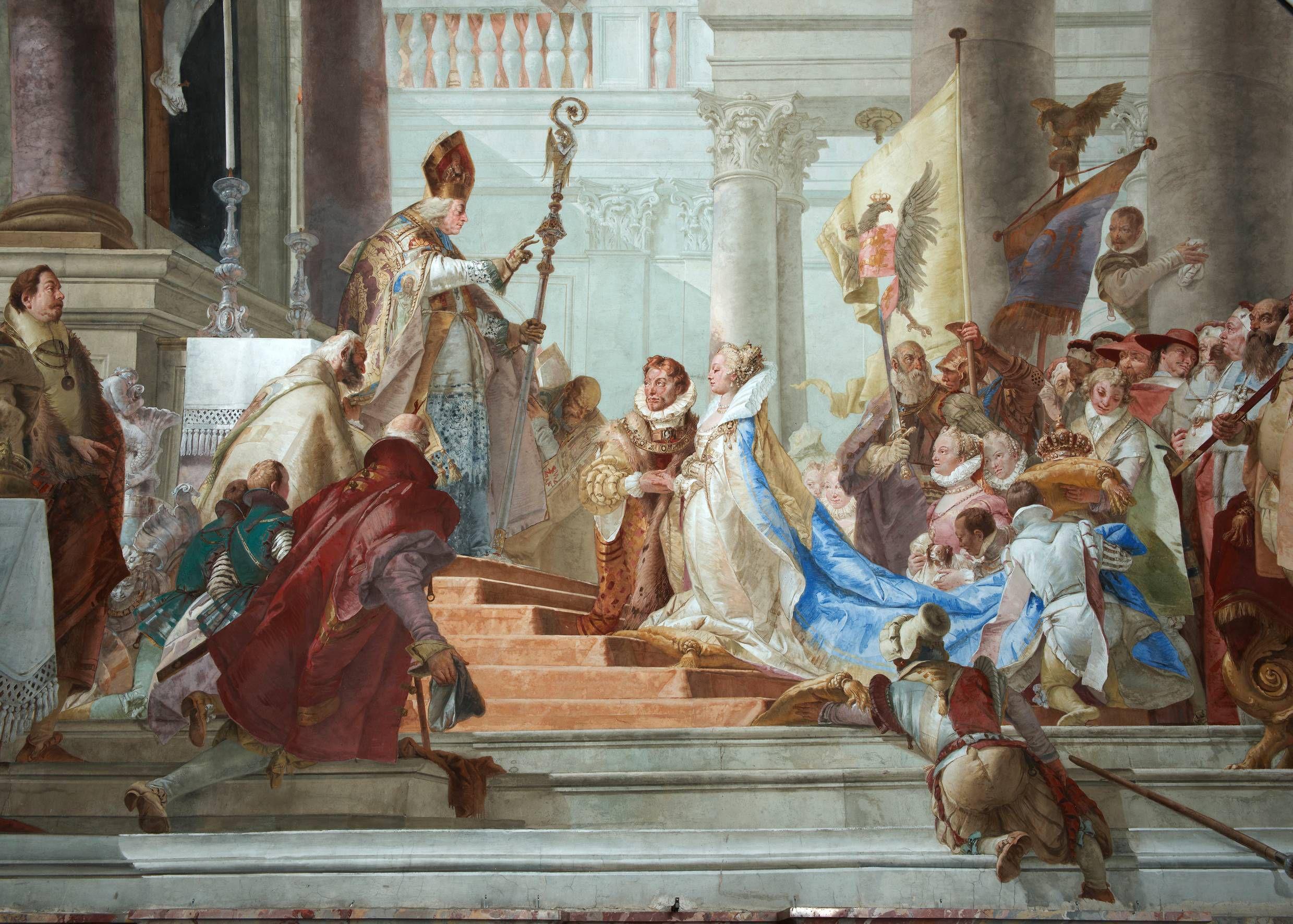 """Reverenz an den Auftraggeber: 1751 gab Tiepolo im Kaisersaal-Fresko """"Die Hochzeit Kaiser Friedrichs I. Barbarossa mit Beatrix von Burgund"""" Bischof Gebhard die Züge Carl Philipp von Greiffenclaus.F"""