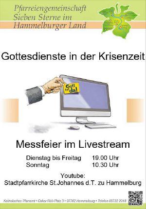 Gottesdienste und Impulse per Livestream gibt es beispielsweise auch aus der Stadtpfarrkirche Sankt Johannes der Täufer in Hammelburg.