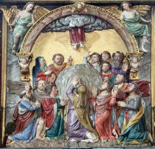 Christi Himmelfahrt. Darstellung auf dem Hochaltar von Darstadt. 1598 von Hans Juncker geschaffen.
