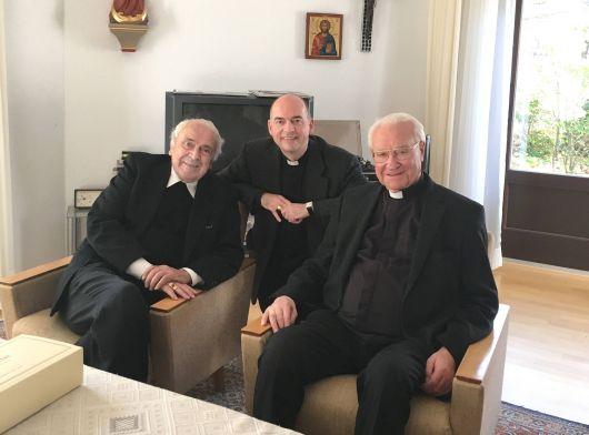 Fränkisch-pfälzische Begegnung am 2. November 2018 in Speyer (von links): Weihbischof em. Helmut Bauer, Bischof Dr. Franz Jung und Bischof em. Dr. Anton Schlembach.