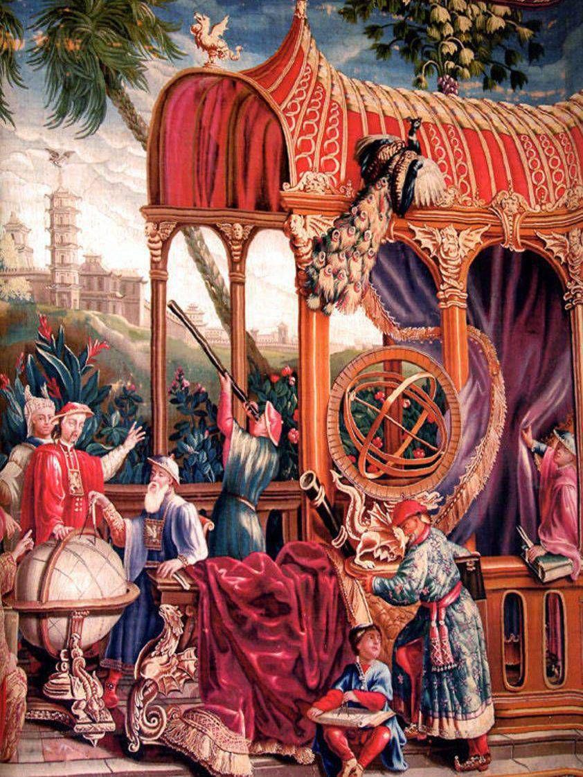 Kaiser und Jesuit: Die zwischen 1690 und 1705 in Beauvais von Philippe Behagle gewirkte Tapisserie zeigt einen Jesuiten, der Kaiser Kangxi an einem Globus eine Messung demonstriert.