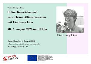 """Im Rahmen der """"Living Library"""" der youngcaritas erzählt Uie-Liang Liou von ihren Erfahrungen mit Alltagsrassismus in Deutschland."""