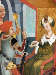 """Eine Tafel aus der Kilianslegende von Veit Stoss: """"Galiana beauftragt die Mörder."""""""