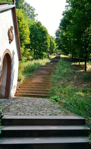 Die Engelsstaffel in Großheubach (Dekanat Miltenberg) ist mit ihren 612 Stufen die lä̈ngste Freitreppe Bayerns.