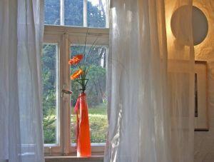 Am Fenster einer Wohnung stehen Blumen in einer Vase. Die Beleuchtung an der Zimmerwand sorgt für eine stimmungsvolle Atmosphäre. Vor dem Fenster ist ein Wald zu sehen.