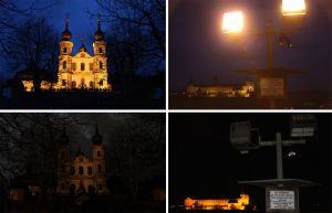 """Im Rahmen einer CO2-Fastenaktion von Kirchlicher Jugendarbeit und Bund der Deutschen Katholischen Jugend (BDKJ) im Bistum Würzburg wurde 2010 schon einmal die Beleuchtung des Käppele abgeschaltet. Gleiches geschieht am 17. September im Rahmen der Aktion """"Earth Night""""."""