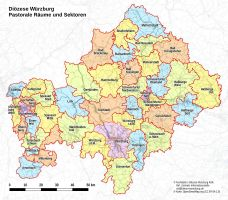 Karte der Pastoralen Räume im Bistum Würzburg.