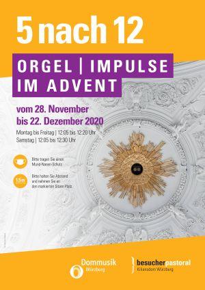 Coronabedingt werden dieses Jahr erstmalig auch in der Adventszeit Orgelmusik und Gedanken zum Tag in der Mittagszeit im Würzburger Kiliansdom zu hören sein.