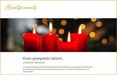 Von ihren weihnachtlichen und adventlichen Erfahrungen während des Jahres berichten ab dem 1. Dezember Priester, Pastoralreferenten, Gemeindereferenten und andere engagierte Christen im Internet unter der Adresse www.adventsmomente.de.