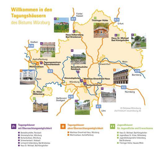 Übersichtskarte der Tagungshäuser im Bistum Würzburg.