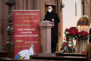 Bischof Dr. Franz Jung sprach in der Marienkapelle bei der weihnachtlichen Andacht von Sant'Egidio.