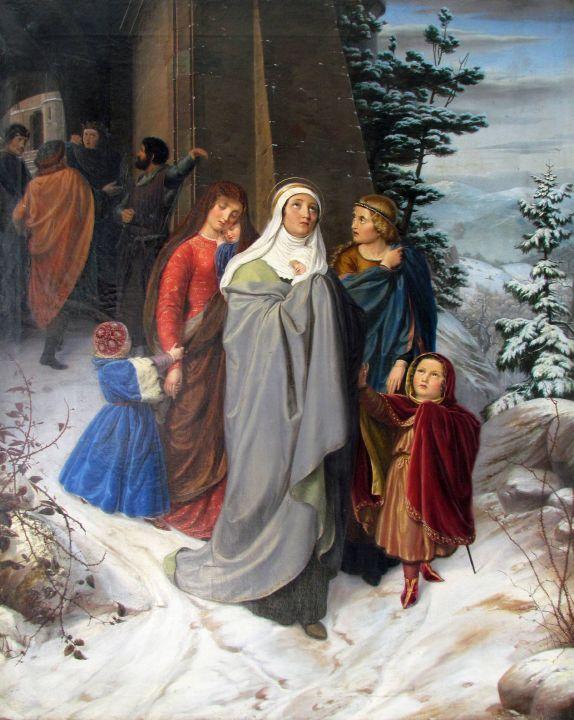 """Das Gemälde """"Heilige Elisabeth mit Begleitern"""" von Raphael Joseph Albert Schall ist derzeit im Schaufenster des Museums am Dom zu sehen."""