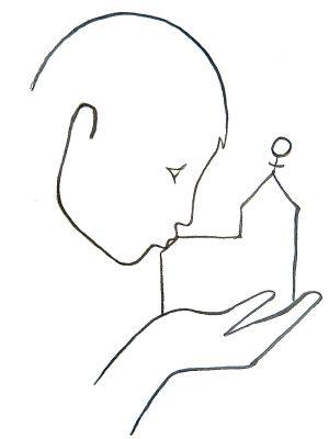 """Die Zeichnung """"Wir küssen unsere Kirche wach"""" von Lisa Kötter gehört zu den Materialien, welche die Bewegung Maria 2.0 auf ihrer Homepage (""""www.mariazweipunktnull.de"""") anbietet. Das Bild zeigt eine Frau, die ein Kirchengebäude in der Hand hält und küsst. Auf dem Dach des Kirchturms ist das Symbol für Weiblichkeit zu sehen."""