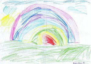 Religionslehrerinnen schreiben ihren Grundschülern Mutmachbriefe: Ein von Hand geschriebener Brief der Mutter und zwei Bilder, eines davon dieser Regenbogen, waren die Antwort auf die zwei ersten Mutmach-Briefe.