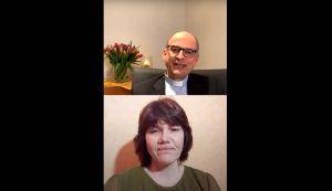 Bishof Dr. Franz Jung unterhielt sich beim ersten Gespräch zur Fastenzeit via die Social-Media-Plattform Instagram mit Heike Stumpf, Leiterin des Pflegediensts im Camillus-Heim des Caritas-Heimathofs Simonshof bei Bastheim (Landkreis Rhön-Grabfeld).