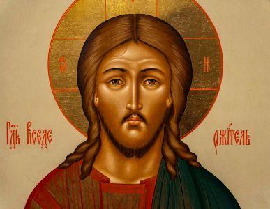 Christus-Ikone aus der Ikonostase der byzantinischen Kapelle in der Würzburger Pfarrkirche Sankt Josef im Stadtteil Grombühl.