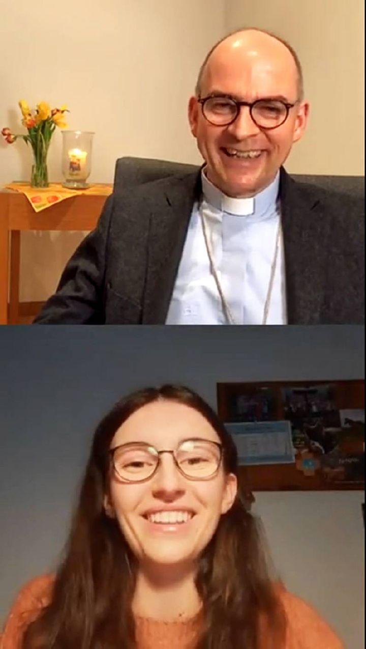 Bischof Dr. Franz Jung und Martina Ullrich, Ministrantin und Pfadfinderin, im Insta-Talk zur Fastenzeit.