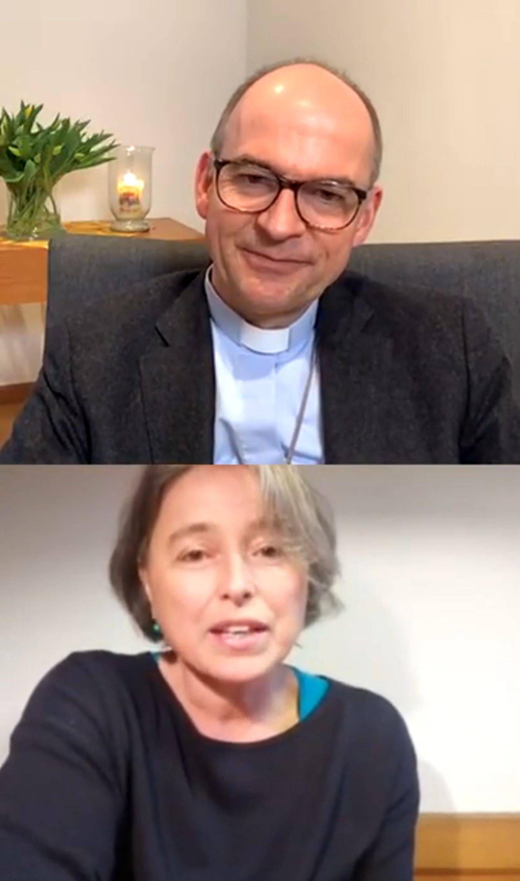 """BIschof Dr. Franz Jung sprach in der Reihe #zwei1einhalb auf Instagram mit Elke Wolz-Nagel, Leiterin der katholischen Kita """"Haus für Kinder"""" in  Gaukönigshofen."""