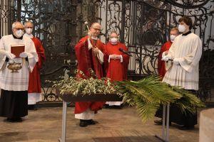 Bischof Dr. Franz Jung segnete zu Beginn des Gottesdiensts die Palmzweige.